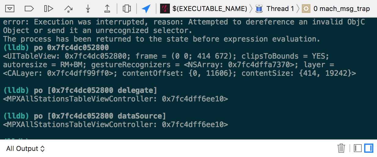 Memory address and class of the UITableView's delegate