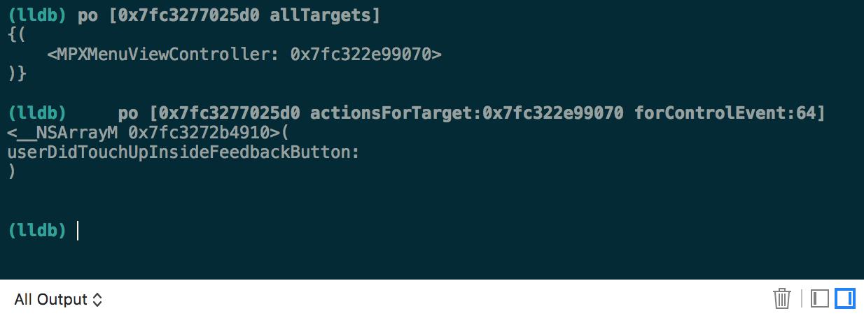 Selectors for `userDidTouchUpInsideFeedbackButton`